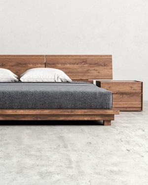 Natural Wooden Bed + 2 Side Bed Tables
