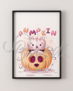 Cat Pumpkin Picture With Frame