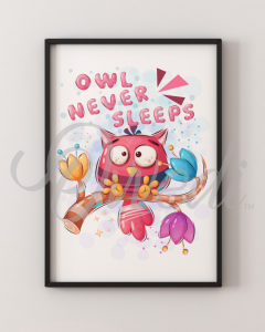 Owl Never Sleeps Picture With Frame